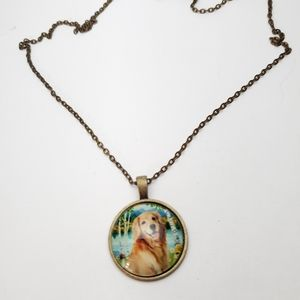 Jewelry - Rustic Golden Retreaver dog Cabochon  necklace.